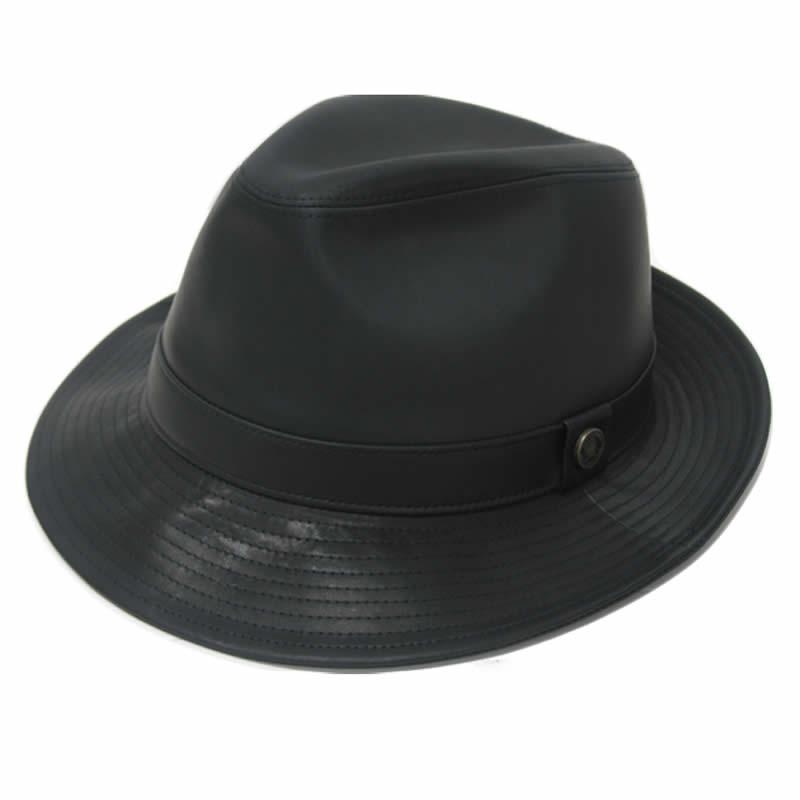 日本製 中折れハット メンズ 中折れ帽 中折れ 帽子 洗えるレザーハット(黒)牛革 本革 レザー  GARYU PLANET ガリュープラネット メンズ・紳士 男性用 女性 男女兼用 帽子