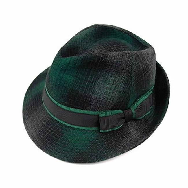 日本製 中折れハット メンズ 中折れ帽 中折れ 帽子 アンゴラ混ウール チェック中折ハット(グリーン) 58cm  GARYU PLANET ガリュープラネット メンズ・紳士 男性用 女性 男女兼用 帽子