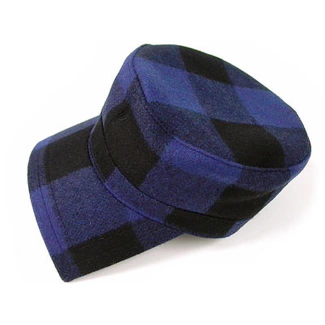 日本製 ワークキャップ メンズ 帽子 キャップ ハット バッファローチェック ウール ワークキャップ(青)56cm~60cm  GARYU PLANET ガリュープラネット メンズ・紳士 男性用 女性 男女兼用 帽子