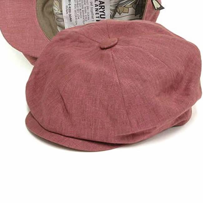 アイリッシュ PLANET メンズ 男性用 キャスケット 麻100% GARYU 帽子 ガリュープラネット キャスケット帽 男女兼用 リネンの8枚はぎキャスケット(ピンク)55~59cm メンズ・紳士  帽子 日本製 女性