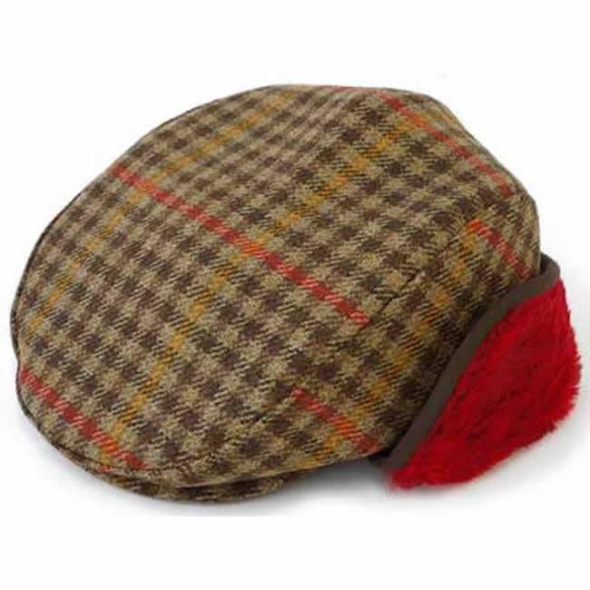 日本製 ハンチング メンズ ハンチング帽 耳マフ イヤーマフ 付き チェック ツイード ハンチング(赤マフ)57~58.5cm  GARYU PLANET ガリュープラネット メンズ・紳士 男性用 男女兼用 帽子 ハット ぼうし