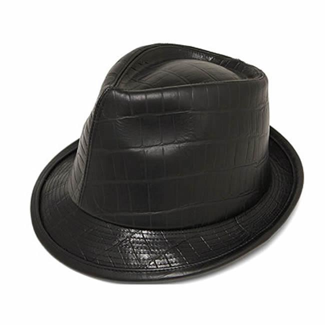 日本製 中折れハット メンズ 中折れ帽 中折れ 帽子 ラージ クロコ型押し牛革 本革 中折れハット(黒) 58cm GARYU PLANET ガリュープラネット メンズ・紳士 男性用 女性 男女兼用 帽子 ぼうし ハット