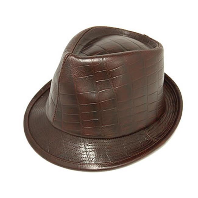 日本製 中折れハット メンズ 中折れ帽 中折れ 帽子 ラージ クロコ型押し牛革 本革 中折れハット(こげ茶) 58cm GARYU PLANET ガリュープラネット メンズ・紳士 男性用 女性 男女兼用 帽子 ぼうし ハット