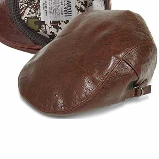 日本製 ハンチング メンズ ハンチング帽 牛革 オーストリッチ型押し 本革 ハンチング(茶)56~59cm  GARYU PLANET ガリュープラネット メンズ・紳士 男性用 男女兼用 帽子 ハット ぼうし