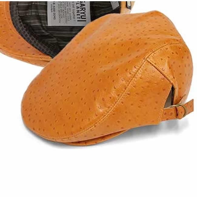 日本製 ハンチング メンズ ハンチング帽 牛革 オーストリッチ型押し 本革 ハンチングSt(橙茶)56~59cm  GARYU PLANET ガリュープラネット メンズ・紳士 男性用 男女兼用 帽子 ハット ぼうし