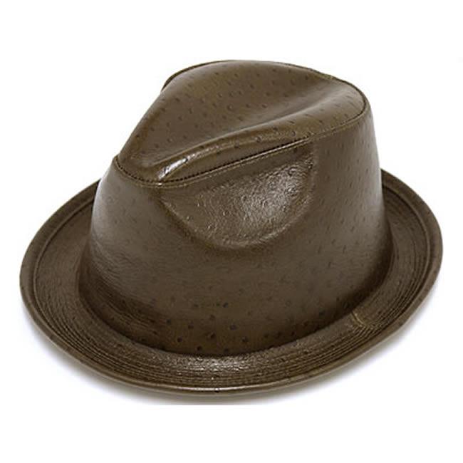 日本製 中折れハット メンズ 中折れ帽 中折れ 帽子 オーストリッチ型押し 牛革 本革 中折れハット(オリーブ) 58cm GARYU PLANET ガリュープラネット メンズ・紳士 男性用 女性 男女兼用 帽子 ぼうし ハット