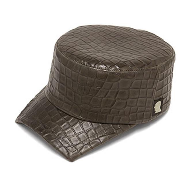 日本製 ワークキャップ メンズ 帽子 カストロ バック クロコ型押し 本革 牛革 スクエアカストロ(カーキ)58cm GARYU PLANET ガリュープラネット メンズ・紳士 男性用 女性 男女兼用 帽子 キャップ ハット ぼうし