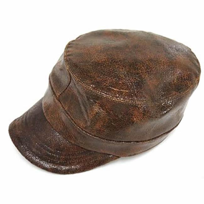 日本製 ワークキャップ メンズ 帽子 牛革 本革バズラクラック アーミーキャップ(ブラウン)56~60cm  GARYU PLANET ガリュープラネット メンズ・紳士 男性用 女性 男女兼用 帽子 キャップ ハット ぼうし