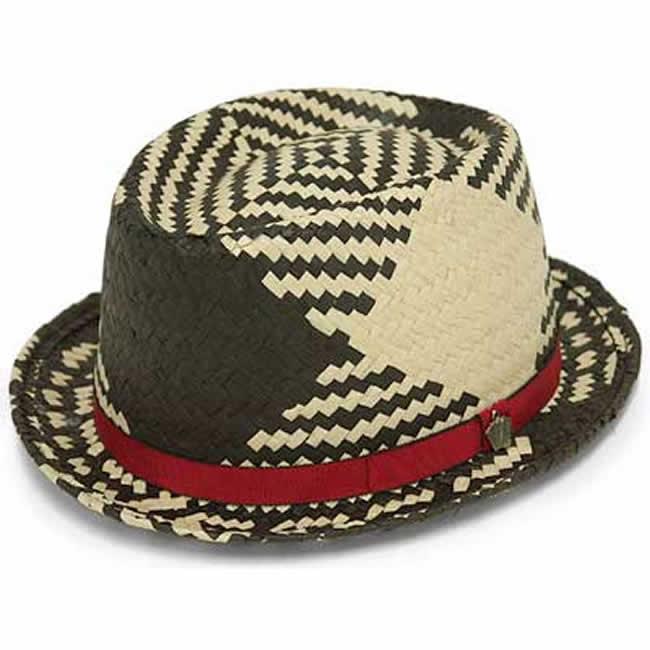 ストローハット 中折れ帽 カンカン帽 トランプチャーム付バイカラー ペーパーハット(黒) 57.5cm GARYU PLANET ガリュープラネット メンズ・紳士 男性用 帽子 ハット ぼうし