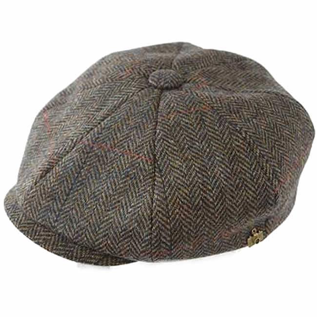 日本製 キャスケット メンズ 帽子 毛 ウール 100% スコットランド ツイード8枚はぎキャス(ネイビー) GARYU PLANET ガリュープラネット 紳士 男性用 女性 男女兼用 帽子 ハット