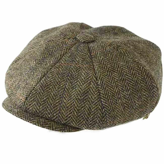 日本製 キャスケット メンズ 帽子 毛 ウール 100% スコットランド ツイード8枚はぎキャス(オリーブ) GARYU PLANET ガリュープラネット 紳士 男性用 女性 男女兼用 帽子 ハット