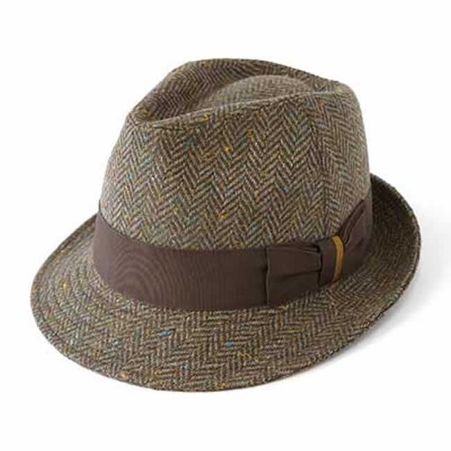 日本製 中折れハット メンズ 中折れ帽 毛 ウール100% AHヘリンボーン中折れハットM(カーキ系)56~58cm GARYU PLANET ガリュープラネット 紳士 男性用 女性 男女兼用 帽子 ぼうし