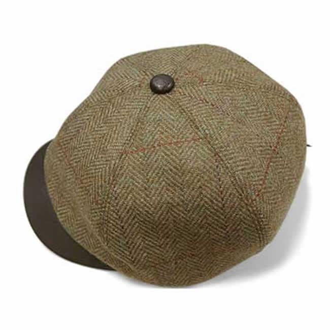 日本製 キャスケット メンズ 帽子 毛 ウール 100% スコットランド ツイード ヘリンボーン キャス(草色)GARYU PLANET ガリュープラネット 紳士 男性用 女性 男女兼用 帽子 ハット