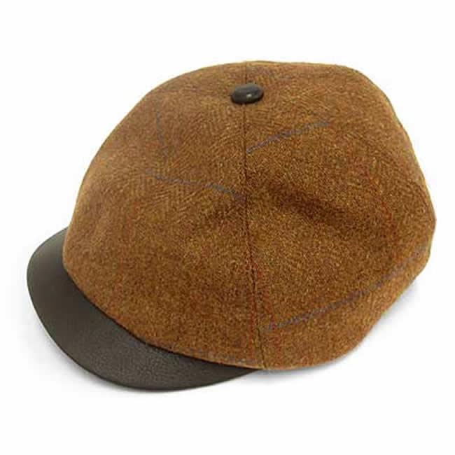 日本製 キャスケット メンズ 帽子 毛 ウール 100% スコットランド ツイード ヘリンボーン キャス(赤茶)GARYU PLANET ガリュープラネット 紳士 男性用 女性 男女兼用 帽子 ハット