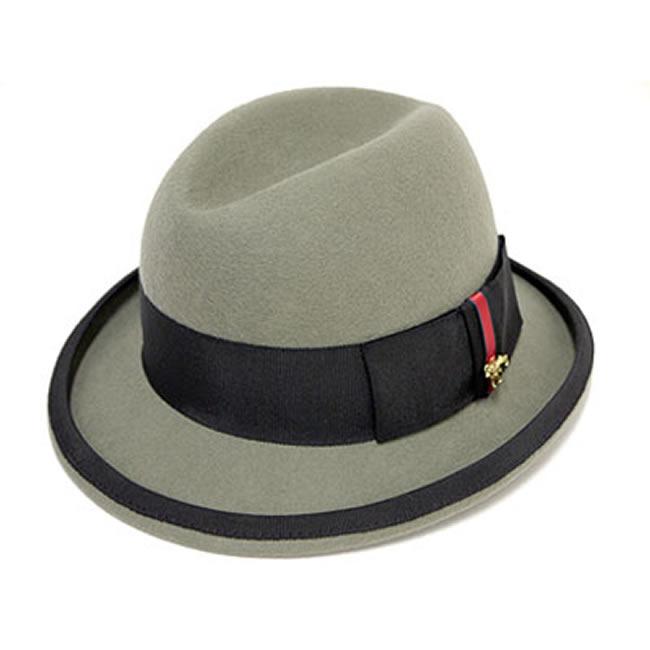 中折れハット メンズ ライオンチャーム付 ウール ホンブルグハット(灰)58cm GARYU PLANET ガリュープラネット 紳士 男性用 女性 兼用 帽子