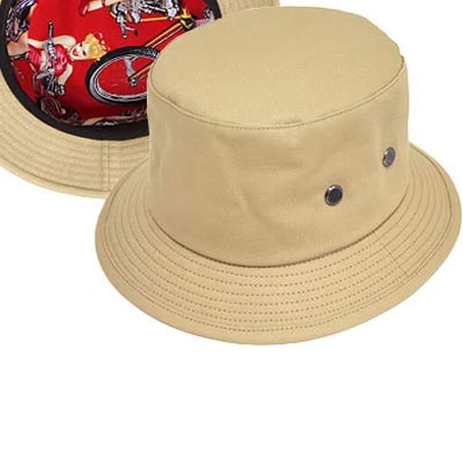 日本製 帽子 メンズ バケットハット 綿コットン100% オックス 裏バイクガールズ柄ハット(サンド)58cm GARYU PLANET ガリュープラネット メンズ・紳士 男性用 女性 男女兼用 ハット