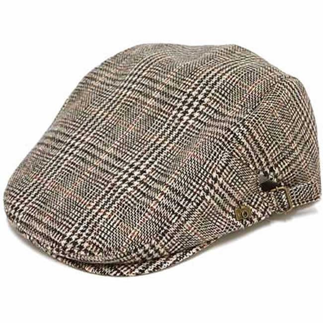 日本製 ハンチング メンズ ハンチング帽 ウール素材 グレンチェック サイド美錠ハンチング(ベージュ)56~61cm GARYU PLANET ガリュープラネット メンズ・紳士 男性用 男女兼用 帽子 ハット ぼうし