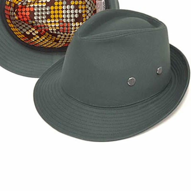 日本製 中折れハット メンズ フィールドハット オックス/裏ドット柄フィールドハット58(灰青) 58cm GARYU PLANET ガリュープラネット 紳士 男性用 女性 男女兼用 帽子 ぼうし