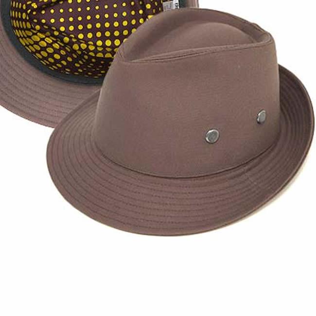 日本製 中折れハット メンズ フィールドハット オックス/裏ドット柄フィールドハット58(灰茶) 58cm GARYU PLANET ガリュープラネット 紳士 男性用 女性 男女兼用 帽子 ぼうし