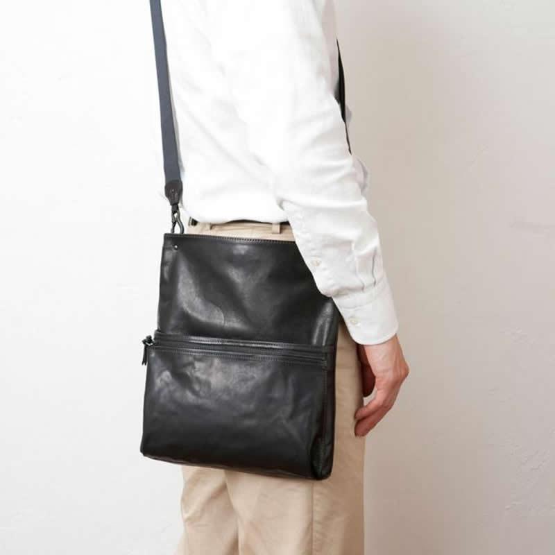 ショルダーバッグ メンズ 2WAYショルダーバッグ 斜め掛けバッグ ウエストバッグ ウエストポーチ 日本製 本革 牛革 男性用 紳士用 鞄 バッグ かばん カバン ポシェット 小さい 薄マチ  INDEED