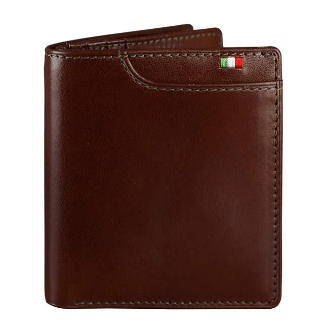 二つ折り財布(小銭入れあり)財布 メンズ 二つ折り マネースルー ウォレット 7ポケット イタリア製レザー  チョコ 牛革 本革  ブランド Milagro