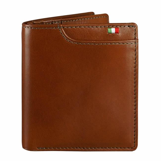 二つ折り財布(小銭入れあり)財布 メンズ 二つ折り マネースルー ウォレット 7ポケット イタリア製レザー テラローザ 牛革 本革  ブランド Milagro