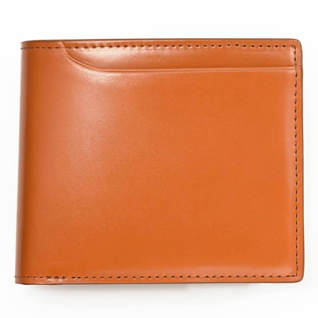 コードバン 二つ折り財布 小銭入れあり 札入れ2室 カード8枚 コードバン 財布 メンズ 二つ折り 本革 レザー 革 二つ折り メンズ財布 本革 コードバン 牛革 馬革 男性用財布 紳士用財布 ブランド Milagro キャメル