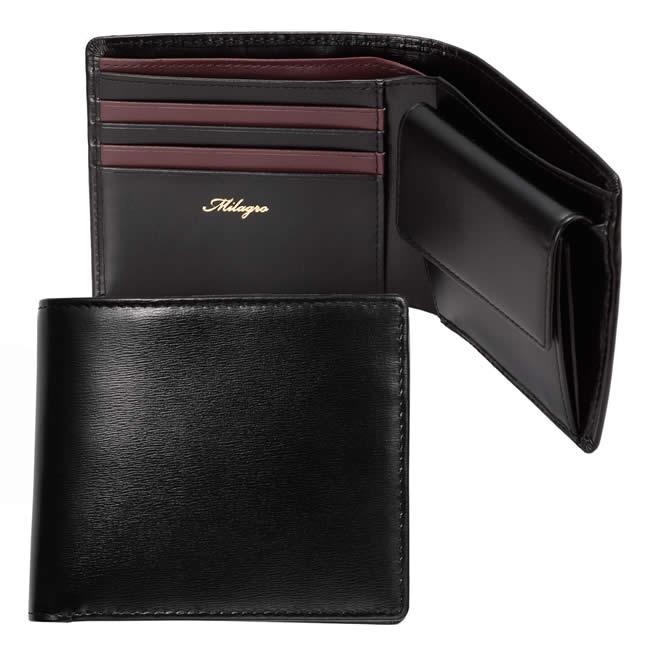 二つ折り財布 小銭入れあり メンズ財布 二つ折り グレイスレザー カード4枚 札入れ2室 ブラック×ボルドー 牛革・本革 ブランド Milagro  サイフ クリスマスギフト プレゼント