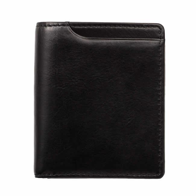 二つ折り財布 小銭入れあり 本革アニリン カーフ レザー 縦型 コンパクト カード3枚 財布 メンズ 二つ折り 本革 レザー 革 カーフレザー 二つ折り メンズ財布 本革 牛革 男性用財布 紳士用財布 ブランド Milagro ブラック