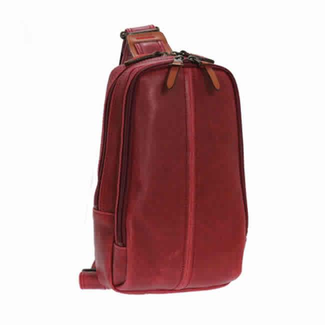 ボディーバッグ 本革付属 メンズ リュック 日本製 豊岡製鞄 豊岡 かばん ワンショルダー リュックサック バックパック ダブルファスナー レトロ 自転車 通勤 合皮 レザー 本革付属 紳士 男性 メンズ カバン 鞄 かばん レッド