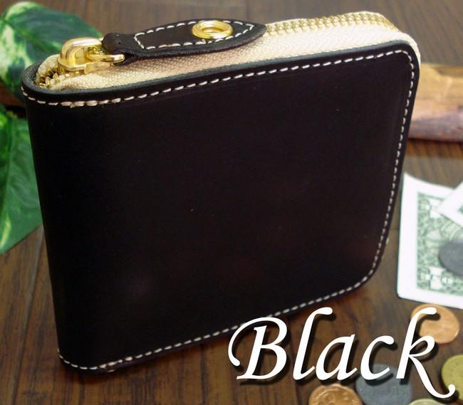 二つ折り財布(小銭入れあり)・折り財布  本革・牛革製 ファスナー・ジッパー式 ビルフォード ウォレット日本製 ブランド quitter クイッター ブラック カード4枚以上収納可能 短財布・二つ折り財布 紳士用 男性用