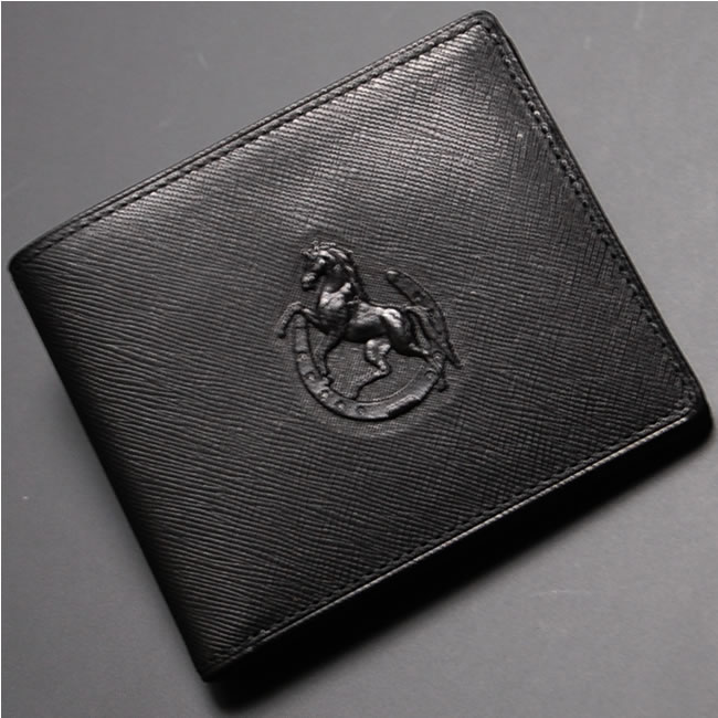 日本製 財布 メンズ 二つ折り 二つ折り財布 小銭入れなし 薄型 本革 レザー 革 二つ折り メンズ財布 本革 牛革 男性用財布 紳士用財布 カード10枚 風水 開運 招福 福財布 金運 財布 左馬 ブラック