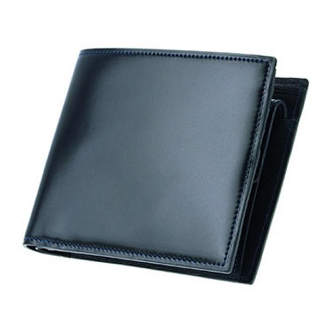 コードバン 二つ折り財布 小銭入れあり 財布 メンズ 二つ折り 水染めコードバン コードバン財布 カード4枚 ネイビー 馬革 本革 レザー 紳士 男性 用  父の日・誕生日・クリスマス・バレンタイン ギフト