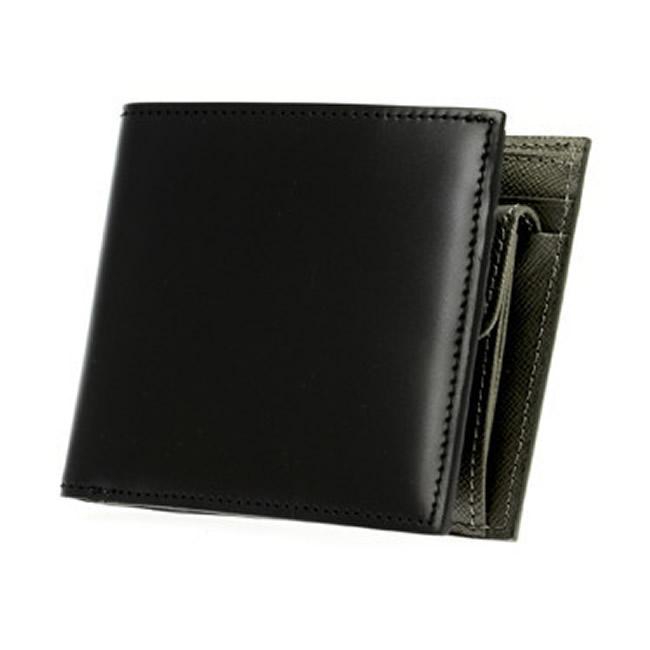革 水染めコードバン メンズ財布 レザー 財布 小銭入れあり メンズ コードバン財布 二つ折り財布 本革 紳士用財布 男性用財布 二つ折り カード4枚 馬革 二つ折り ブラック 本革コードバン