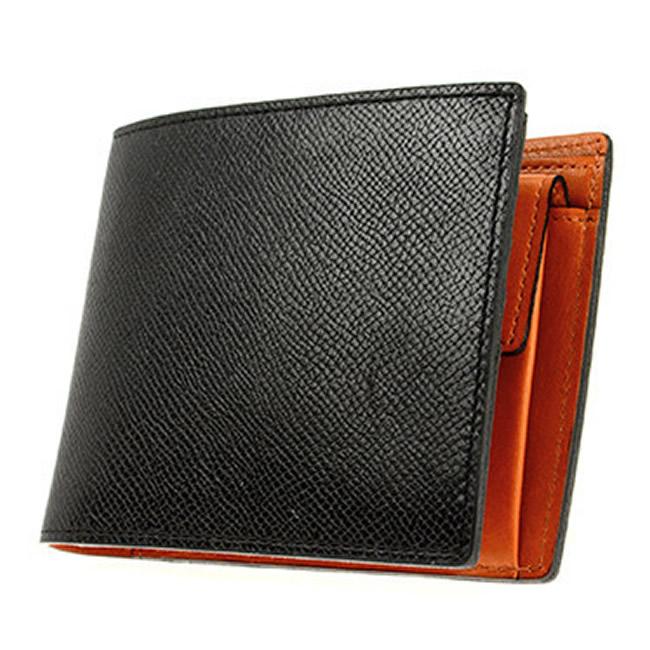二つ折り財布 小銭入れあり 財布 メンズ 二つ折り チェルケスレザー エンボス加工 カード4枚 ブラック
