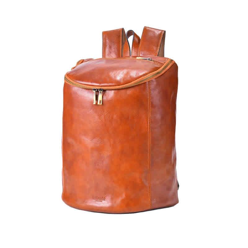 ディバッグ メンズ バッグ リュック バックパック 筒型ボックスデイパック 持ち手付き 2WAY ビジネスバッグ キャメル 本革 牛革 イタリアンレザー イタリー製 イタリア製 通学 通勤 男性 紳士用 鞄 かばん カバン ギフト プレゼント