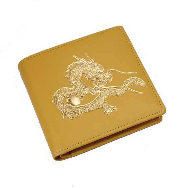 日本製 財布 メンズ 二つ折り財布(小銭入れあり)牛革 皇帝龍 黄 レザー 金運・開運・招福 紳士用・男性・女性 財布