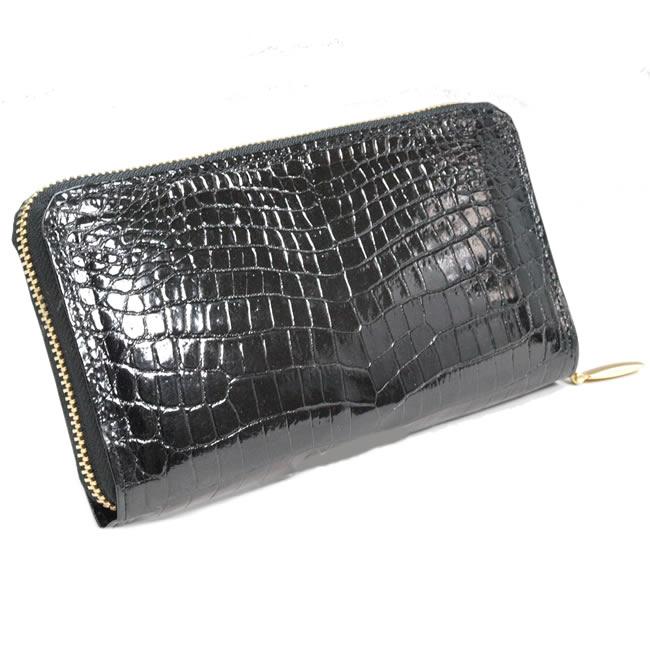 19033ddba0d7 クロコダイル 長財布 メンズ 日本製 ラウンドファスナー 財布 ワニ革 メンズ 本革 革 レザー