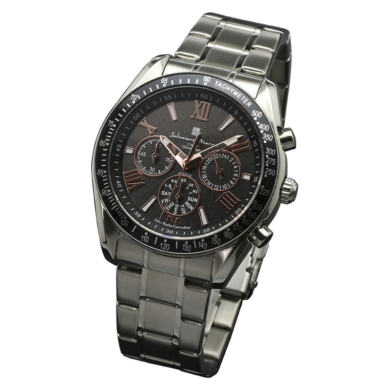 Salvatore Marra サルバトーレマーラ 腕時計 メンズ 電波ソーラー 電波時計 クロノグラフ SM15116-SSBKPG