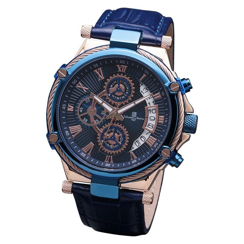 ワイヤーベゼルクロノグラフ Salvatore メンズ Marra SM18102-PGBL 腕時計 サルバトーレマーラ