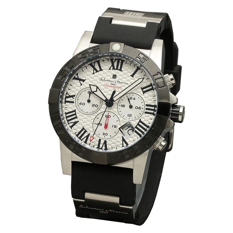 Salvatore Marra サルバトーレマーラ 腕時計 メンズ クロノグラフ ウレタンベルト ウォッチ SM18118-SSWH