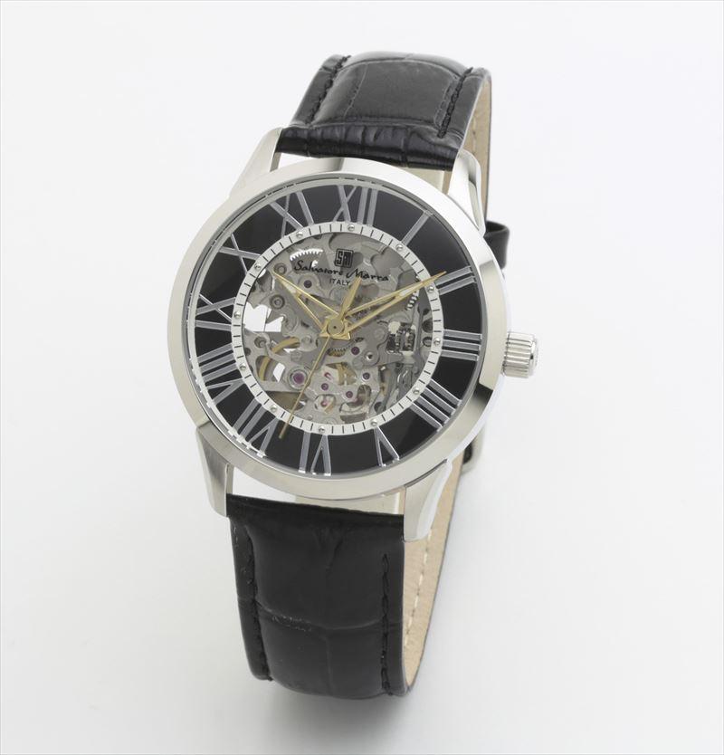 Salvatore Marra サルバトーレマーラ 腕時計 メンズ 機械式 時計 自動巻き レザーウォッチ SM19153-SSBK
