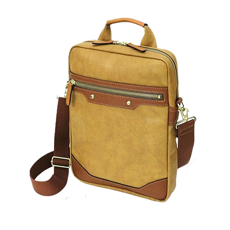 ショルダーバッグ メンズ 斜めがけ メッセンジャーバッグ 日本製 豊岡製鞄 豊岡 縦型 ビジネスバッグ 薄マチ ウスマチ 合成皮革 レザー キャメル BAGGEX バジェックス 暁 メンズ 紳士 男性用 バッグ かばん 鞄