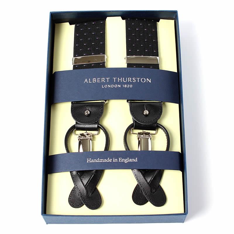 英国製 イギリス製 サスペンダー メンズ 紳士 男性用 牛革(レザー) 本革 革 Y型 35ミリ幅  サスペンダー ALBERT THURSTON アルバートサーストン ブレイシーズ ゴムタイプ ピンドット柄 水玉 ブラック  2ウェイ 吊革・クリップ両用