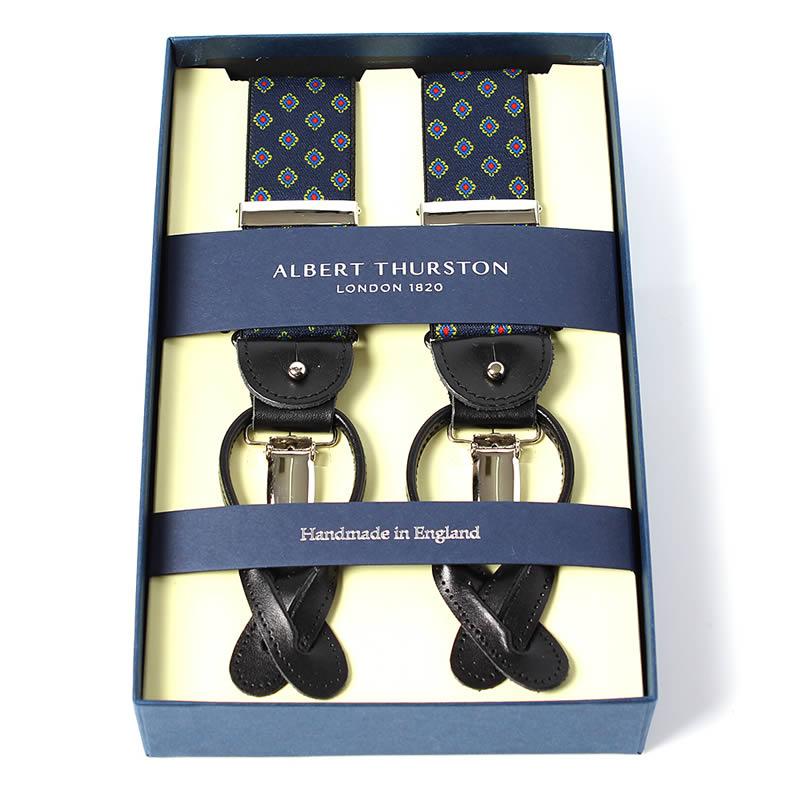 英国製 イギリス製 サスペンダー メンズ 紳士 男性用 牛革(レザー) 本革 革 Y型 35ミリ幅  サスペンダー ALBERT THURSTON アルバートサーストン ブレイシーズ ゴムタイプ 小紋柄 ネイビー 2ウェイ 吊革・クリップ両用