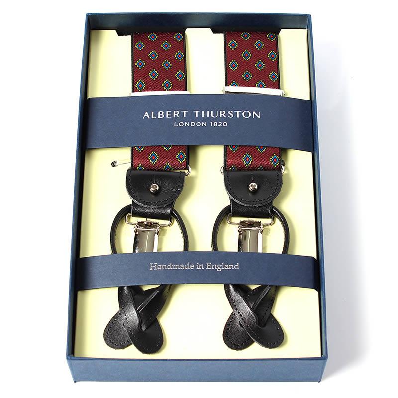 英国製 イギリス製 サスペンダー メンズ 紳士 男性用 牛革(レザー) 本革 革 Y型 35ミリ幅  サスペンダー ALBERT THURSTON アルバートサーストン ブレイシーズ ゴムタイプ 小紋柄 ワイン 2ウェイ 吊革・クリップ両用