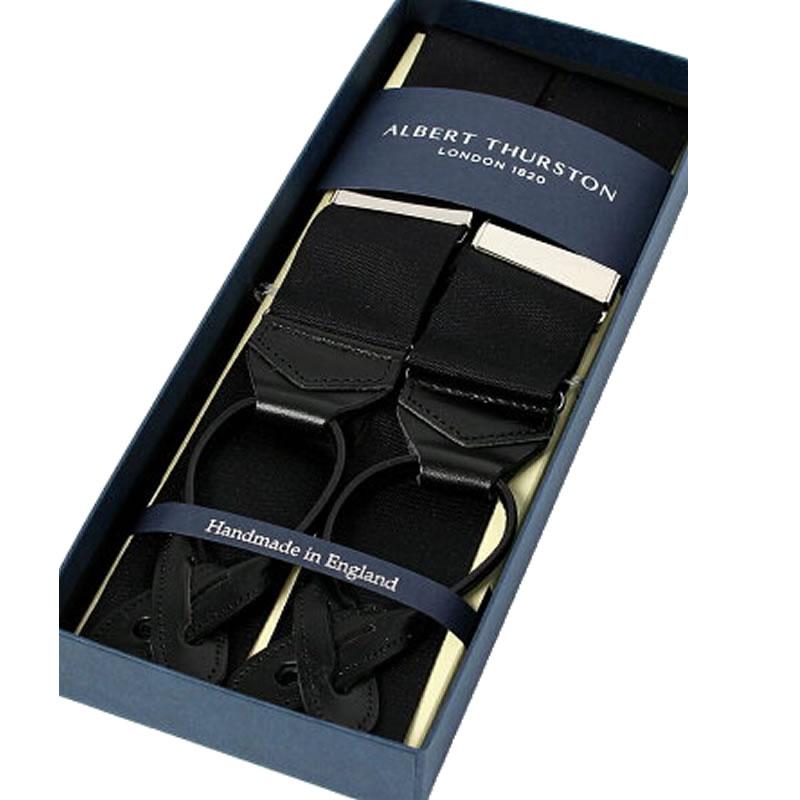 英国製 イギリス製 サスペンダー メンズ 紳士 男性用 牛革(レザー)フォーマルサスペンダー ブラック リボン ボタン留めタイプ レザーエンド サスペンダー ALBERT THURSTON アルバートサーストン