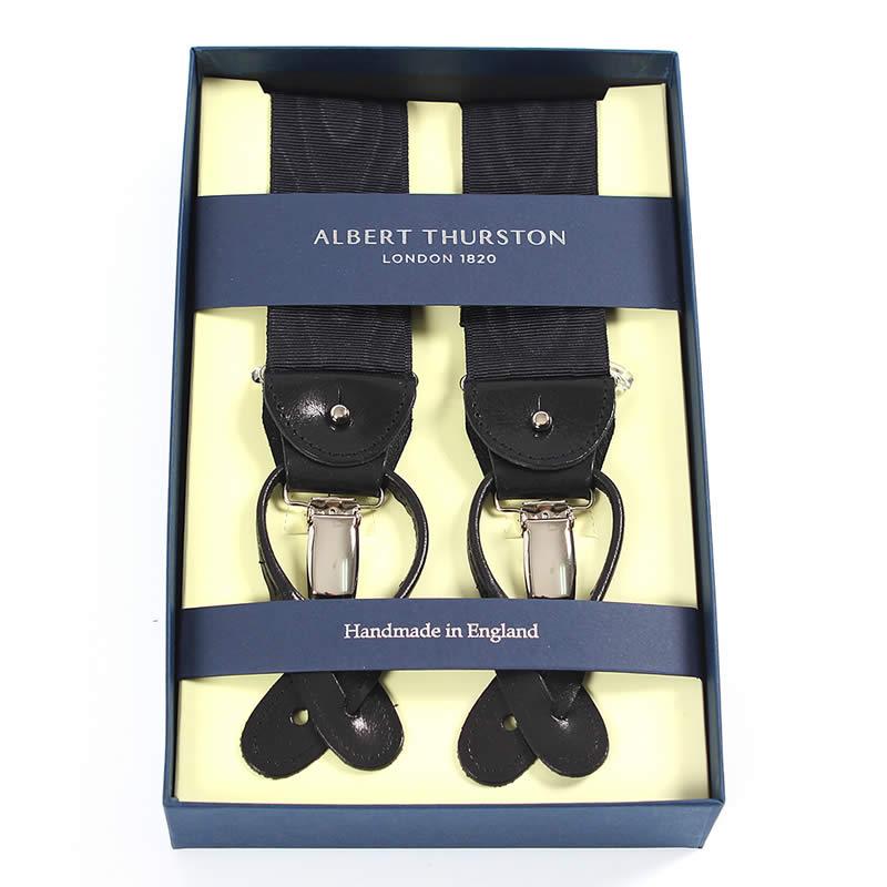 英国製 イギリス製 サスペンダー メンズ 紳士 男性用 牛革(レザー)フォーマルサスペンダー リジッドタイプ ブラック リボン モアレ ブラック サスペンダー ALBERT THURSTON アルバートサーストン
