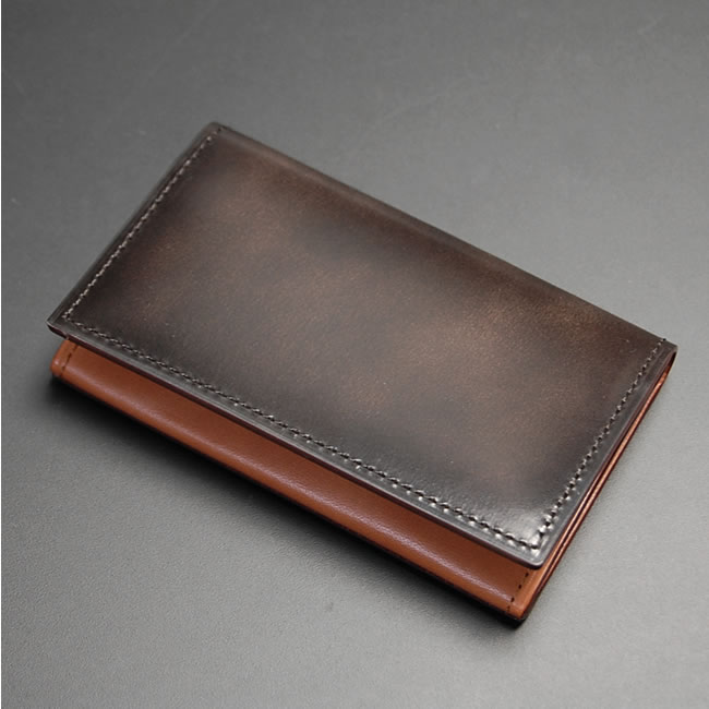 table advan leather wallet in leather leather made in japan size 66 cm x width 11 cm x gusset 13 cm pocket x 3 card holder x 1 - Leather Business Card Holder
