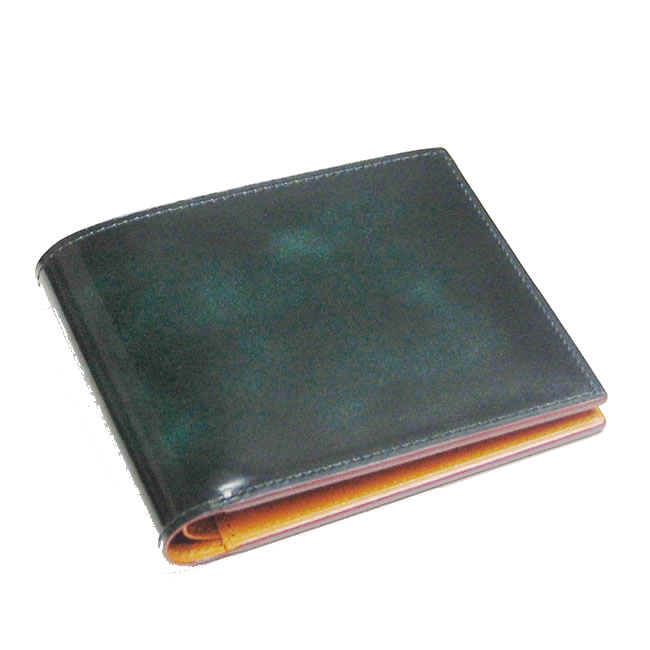 男性用財布 FESON 財布 牛革 二つ折り 本革 グリーン ブランド 革 日本製 紳士用財布 レザー 札入れ 小銭入れなし 二つ折り財布 重ね塗りと磨きの色むら 純札 メンズ アドバンレザー